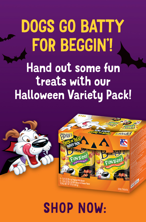 Beggin's Halloween themed mascot, a white dog with a cape on, looking at the Beggin' variety pack. The text reads 'Dogs go batty for Beggin'! Hand out some fun treats with our Halloween Variety Pack! Shop Now:'